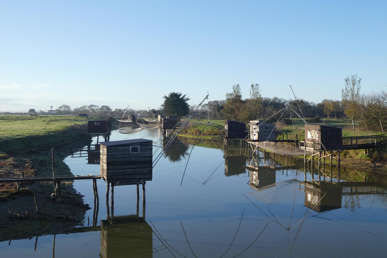 fiskenet ved kanaler i Vendée